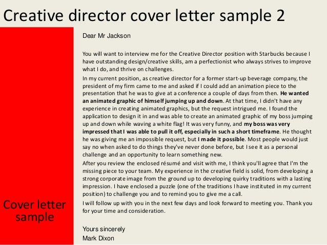 creative director cover letter sample 2 dear mr jackson cover