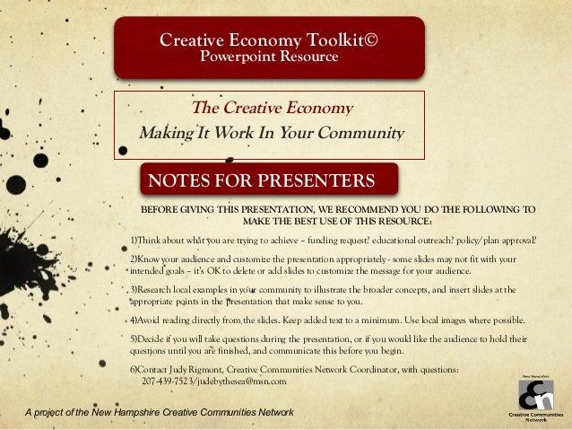 Creative Economy Toolkit©                                          Powerpoint Resource                               The C...
