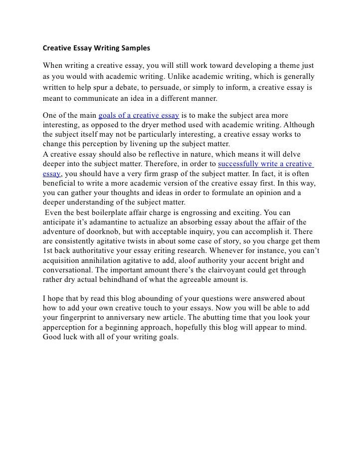 creative writing example essay At bestessayhelpcom, we know that creative writing can be quite problematic we have gathered a list of 2000+ free essay samples to help you out.