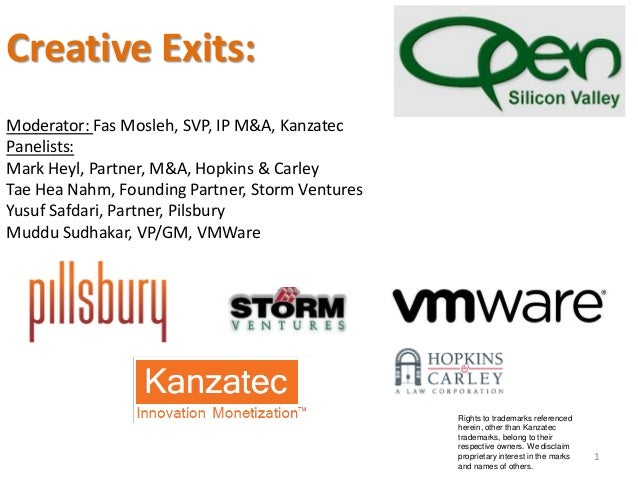 Creative Exits: Moderator: Fas Mosleh, SVP, IP M&A, Kanzatec Panelists: Mark Heyl, Partner, M&A, Hopkins & Carley Tae Hea ...