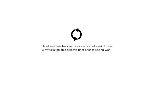 Head level feedback requires a rebrief of work. This is why we align on a creative brief prior to seeing work.