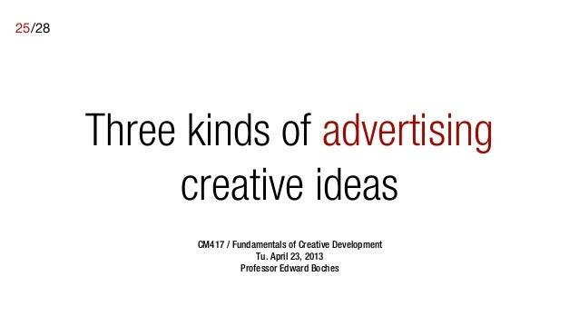 25/28        Three kinds of advertising             creative ideas               CM417 / Fundamentals of Creative Developm...