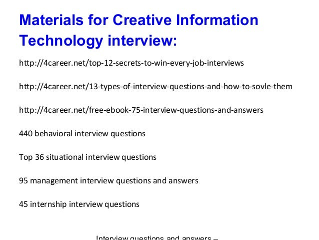 Creative Information Technology Interview Questions And Answers