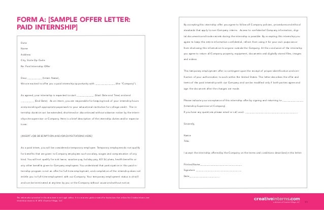 2012 creative village llc 9 6 form a sample offer letterpaid internship