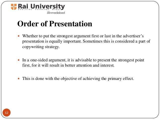 Order of essay presentation