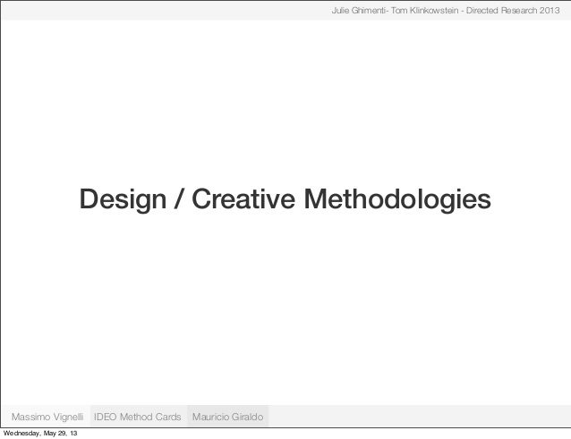 Design / Creative MethodologiesJulie Ghimenti- Tom Klinkowstein - Directed Research 2013Massimo Vignelli IDEO Method Cards...