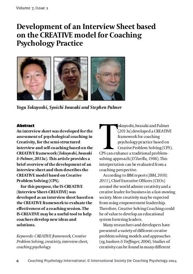 Coaching Psychology International. © International Society for Coaching Psychology 2014 Volume 7, Issue 1 4 Abstract
