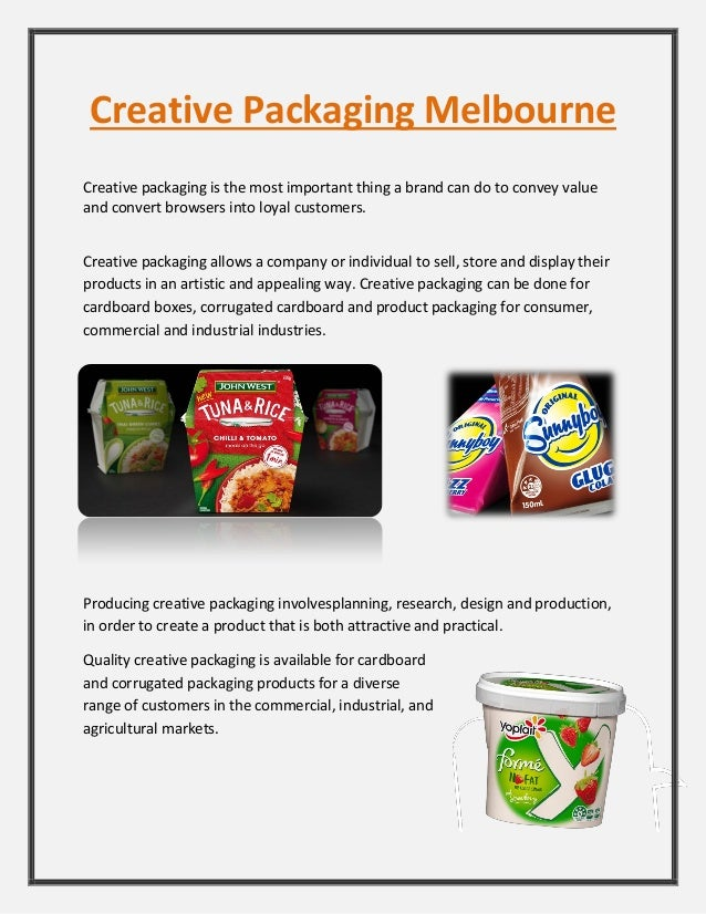 Creative Packaging Melbourne Creative packaging is the most important thing a brand can do to convey value and convert bro...