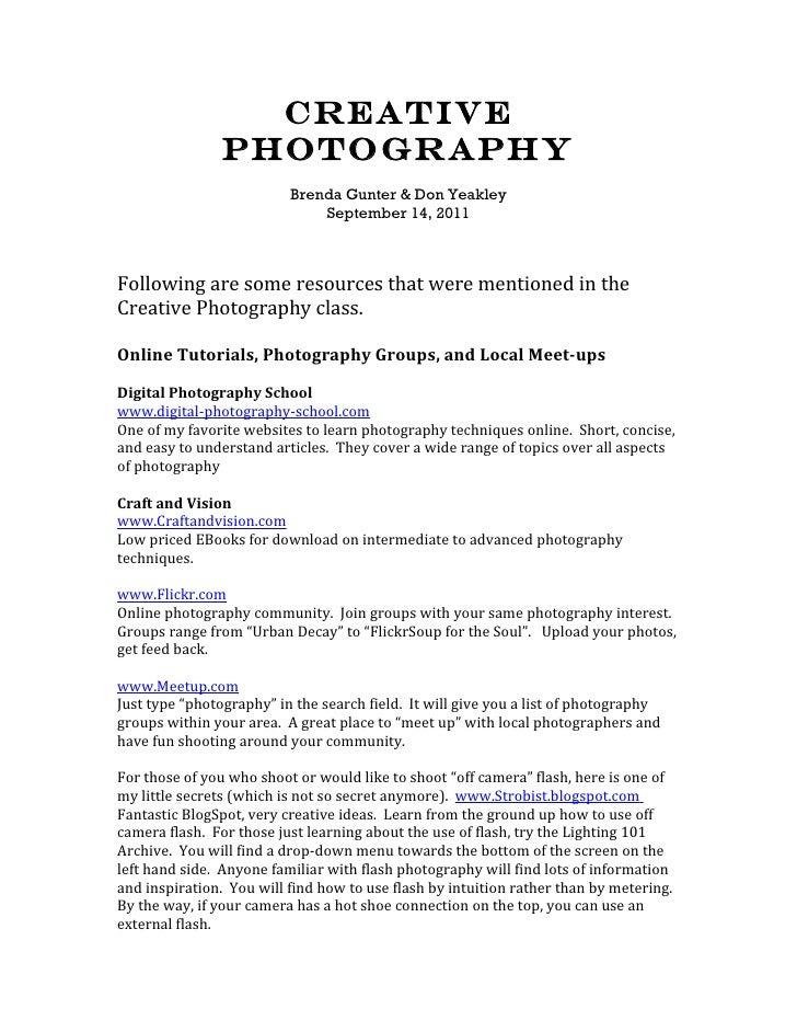 Creative Photography Links