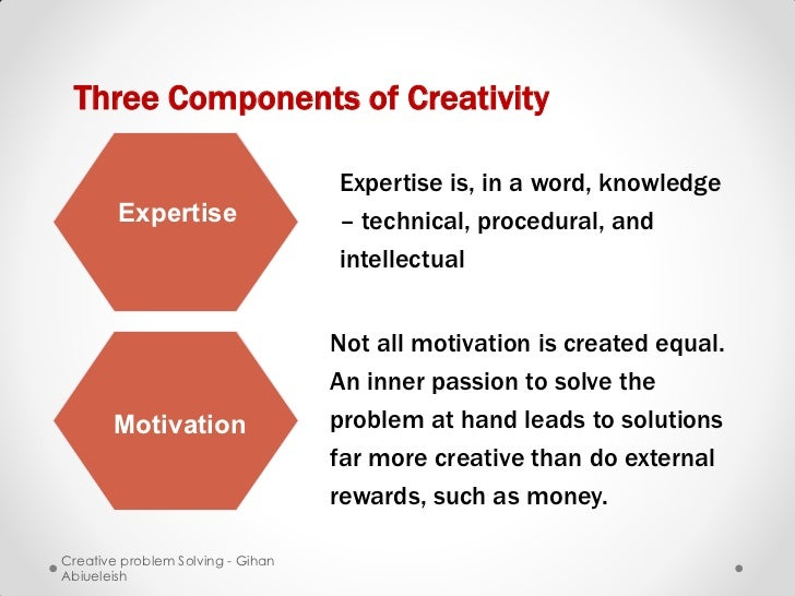 Three Components of Creativity                                   Expertise is, in a word, knowledge        Expertise      ...