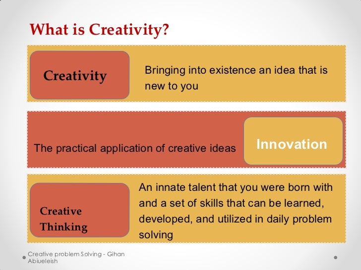 What is Creativity?                                    Bringing into existence an idea that is    Creativity              ...