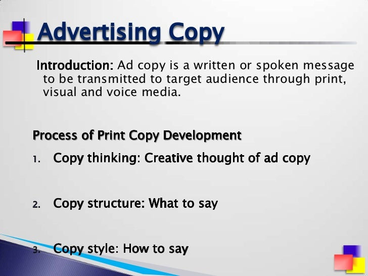 advertising copy Note: there's a caveat to including the searched keyword in your copy that you'll see in strategy 2 here are 3 more specific advertising strategies to help you.