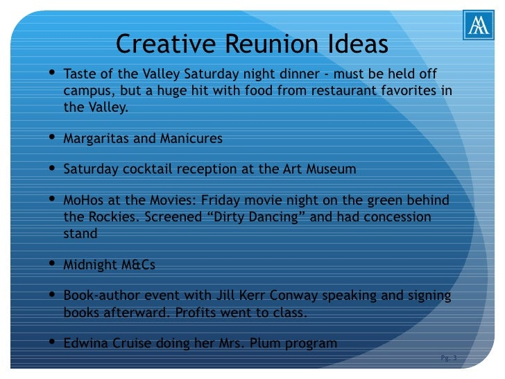 Creative reunion programming ideas