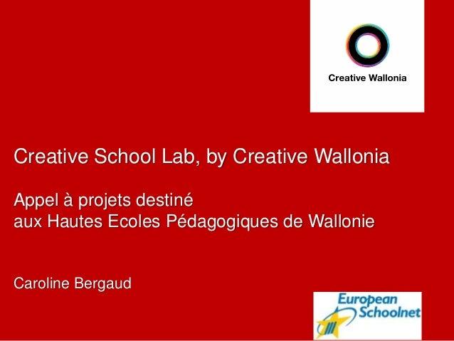 Creative School Lab, by Creative Wallonia Appel à projets destiné aux Hautes Ecoles Pédagogiques de Wallonie Caroline Berg...