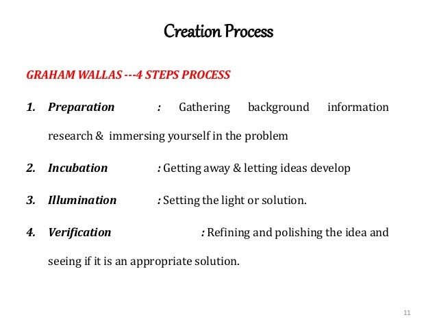 wallis stages of the creative process Laying the stages out in a row like makes the creative process look more linear than it is each of the seven stages melds into, interweaves with, and loops around the others, in an interactive dance, like a ceilidh or barn dance.