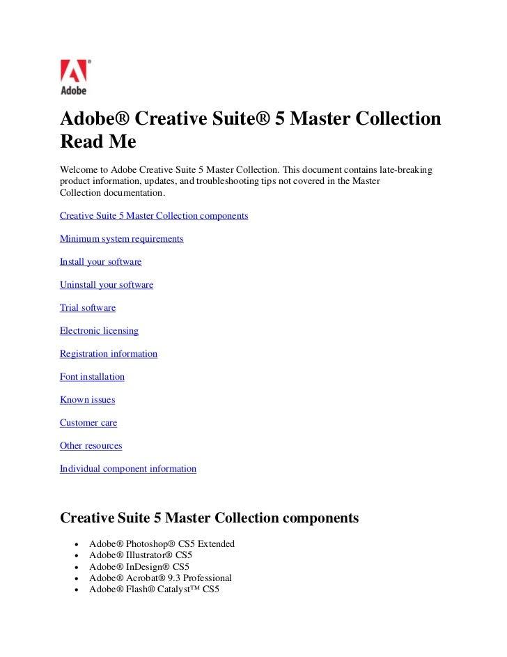 Adobe® Creative Suite® 5 Master CollectionRead MeWelcome to Adobe Creative Suite 5 Master Collection. This document contai...
