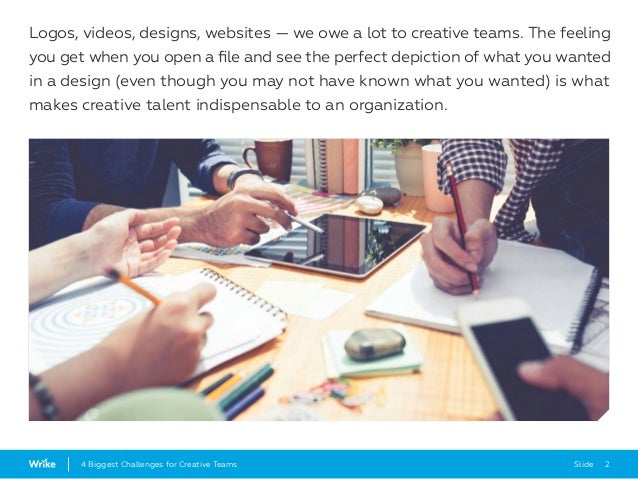 Slide 24 Biggest Challenges for Creative Teams Logos, videos, designs, websites — we owe a lot to creative teams. The feel...