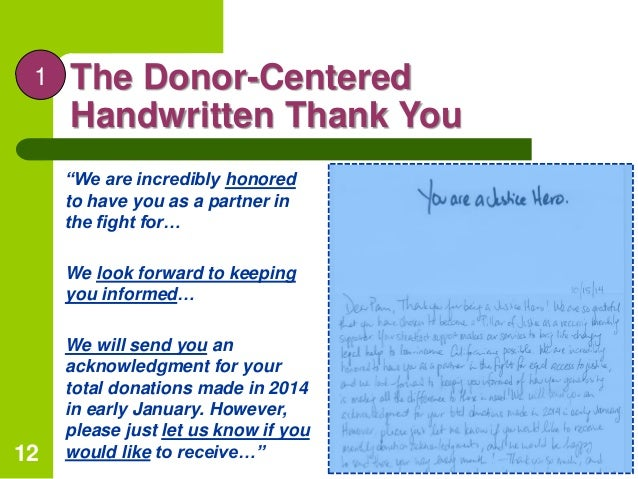 """Public recognition; 16. The Donor-Centered Handwritten Thank You """" ..."""