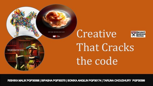 Creative That Cracks the code RISHIKA MALIK PGP30098 | BIPASHA PGP30370 | SONIKA ANGILIN PGP30174 | TARUNA CHOUDHURY PGP30...