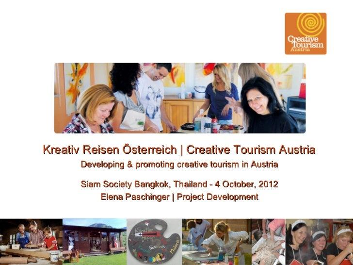 Kreativ Reisen Österreich | Creative Tourism Austria       Developing & promoting creative tourism in Austria       Siam S...