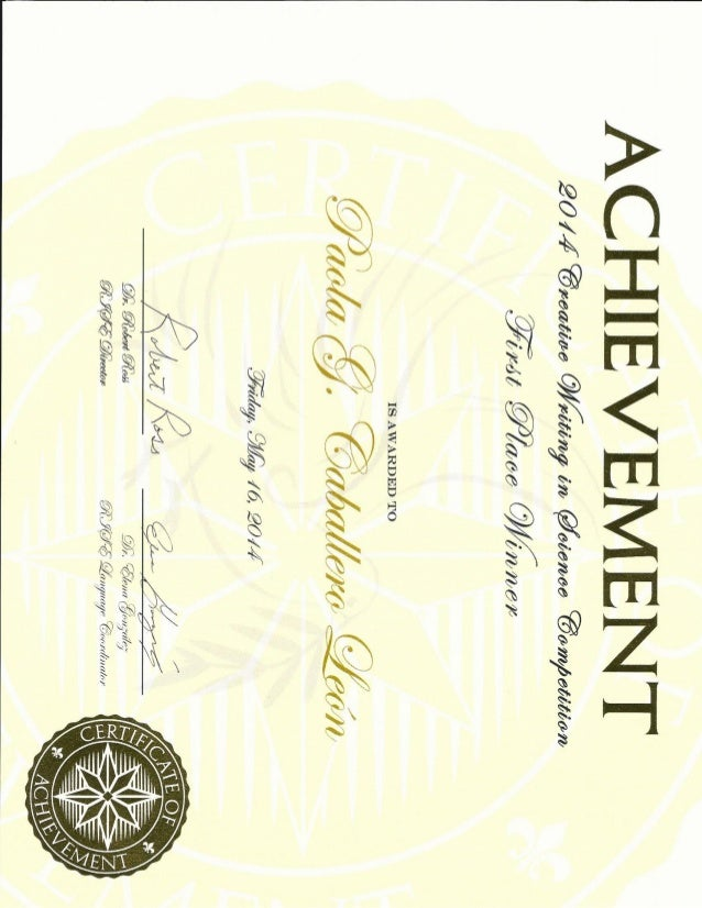 writing contest first place certificate
