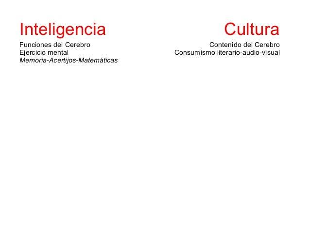 Inteligencia                                          CulturaFunciones del Cerebro                             Contenido d...