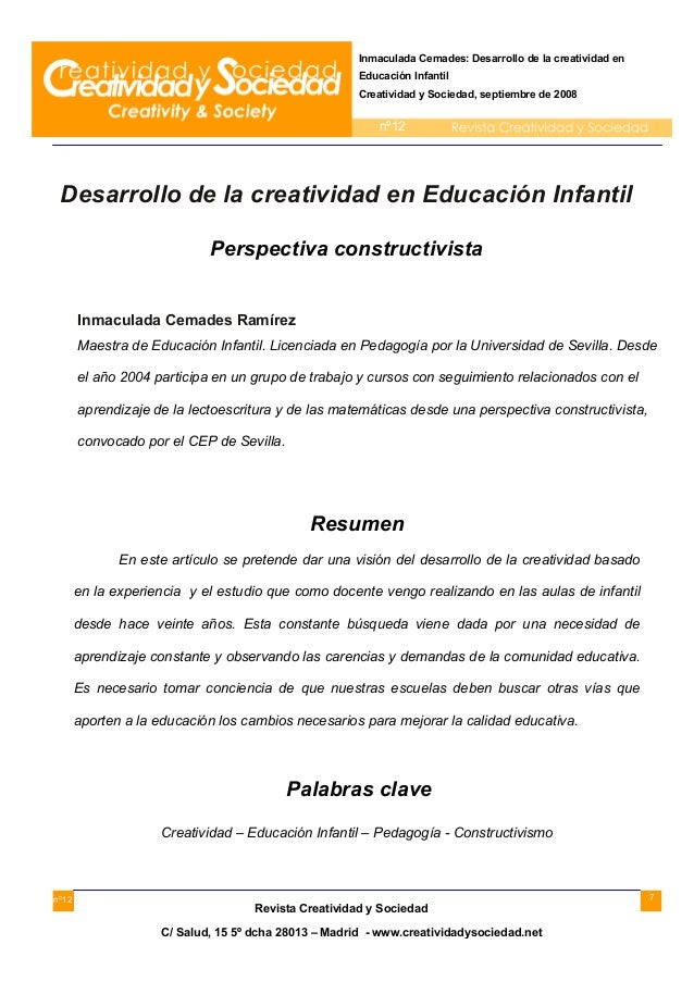 7 Inmaculada Cemades: Desarrollo de la creatividad en Educación Infantil Creatividad y Sociedad, septiembre de 2008 nº12 n...