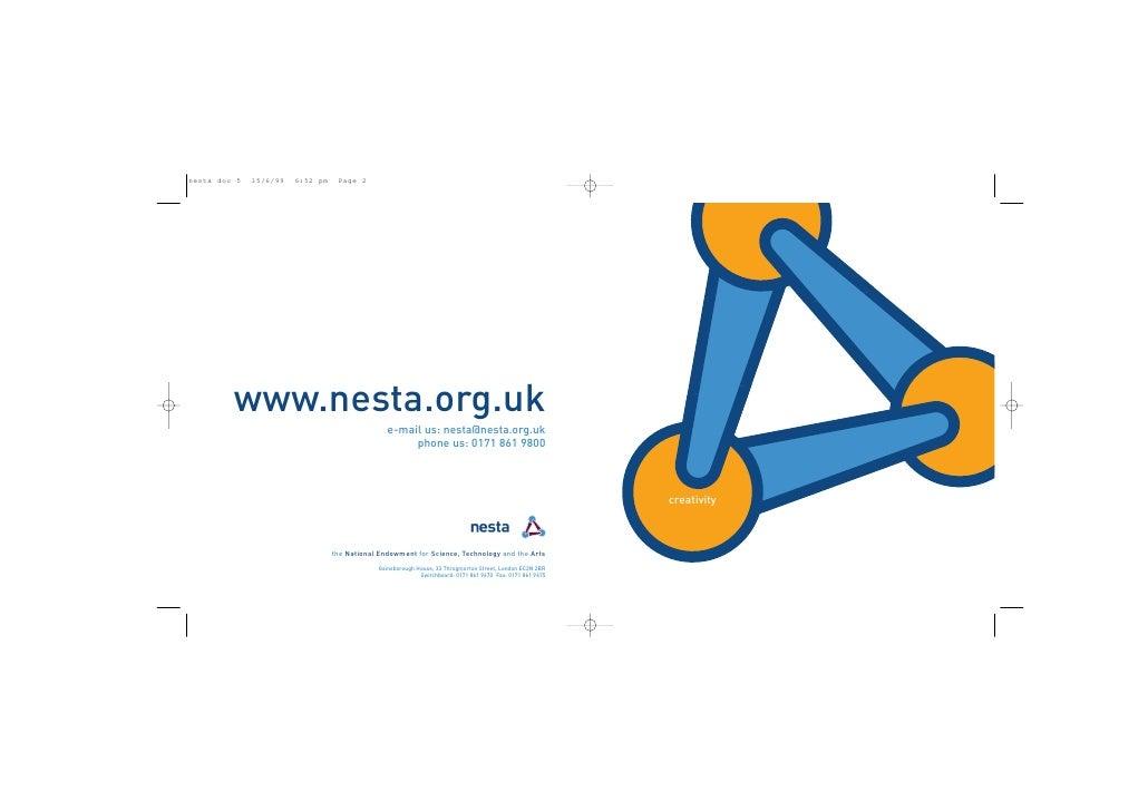 www.nesta.org.uk                     e-mail us: nesta@nesta.org.uk                          phone us: 0171 861 9800       ...