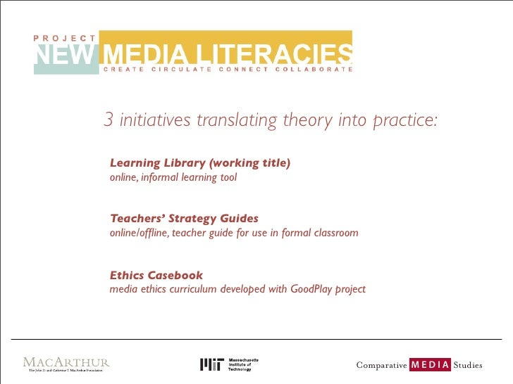 3 initiatives translating theory into practice: Learning Library (working title) online, informal learning tool   Teachers...