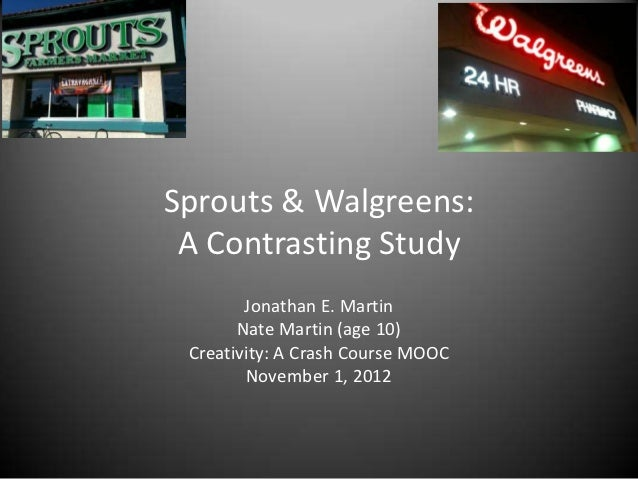 Sprouts & Walgreens: A Contrasting Study        Jonathan E. Martin       Nate Martin (age 10) Creativity: A Crash Course M...