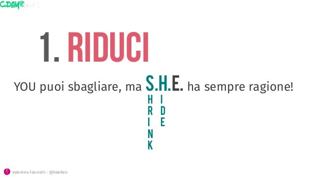 1. riduci h r i n k i d e Valentina Falcinelli - @Valefalci  YOU puoi sbagliare, ma S.H.E. ha sempre ragione!