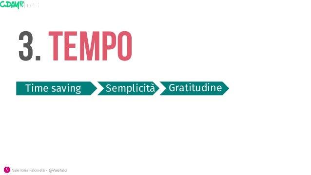 3. tempo Time saving  Semplicità Valentina Falcinelli - @Valefalci  Gratitudine