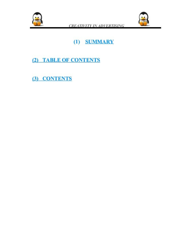 CREATIVITY IN ADVERTISING (1)(1) SUMMARYSUMMARY (2) TABLE OF CONTENTS(2) TABLE OF CONTENTS (3) CONTENTS(3) CONTENTS