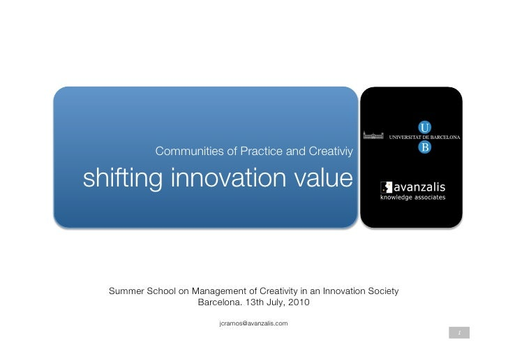 """Communities of Practice and Creativiy        """" shifting innovation value                                       Summer Scho..."""