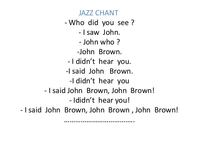 Listening skills: Jazz chants: MP3 files and recording scripts
