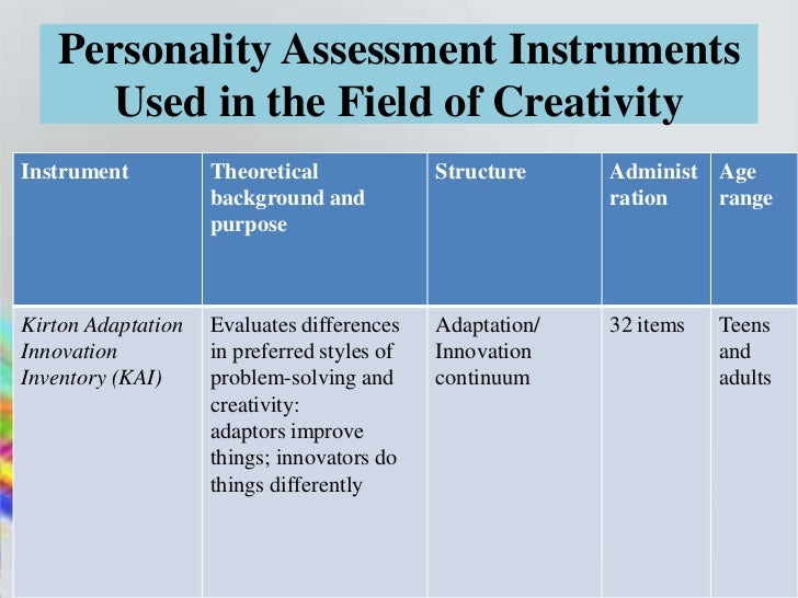 Personality Assessment Instruments     Used in the Field of CreativityInstrument          Theoretical              Structu...
