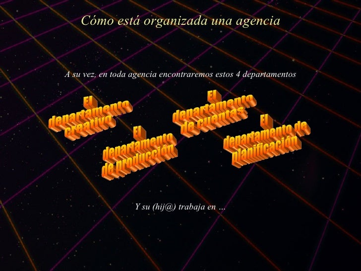 C ómo está organizada una agencia A su vez, en toda agencia encontraremos estos 4 departamentos Y su (hij@) trabaja en … E...