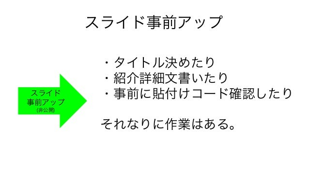 スライド事前アップ スライド 事前アップ (非公開) ・タイトル決めたり ・紹介詳細文書いたり ・事前に貼付けコード確認したり それなりに作業はある。