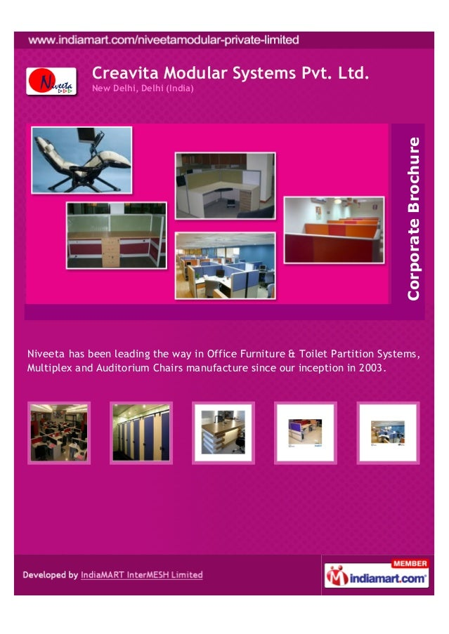 Creavita Modular Systems Pvt. Ltd.New Delhi, Delhi (India)Niveeta has been leading the way in Office Furniture & Toilet Pa...
