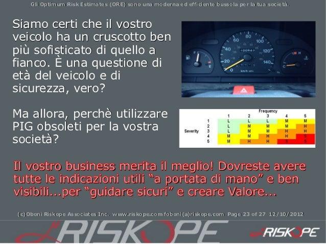 Gli Optimum Risk Estimates (ORE) sono una moderna ed efficiente bussola per la tua società.Siamo certi che il vostroveicol...