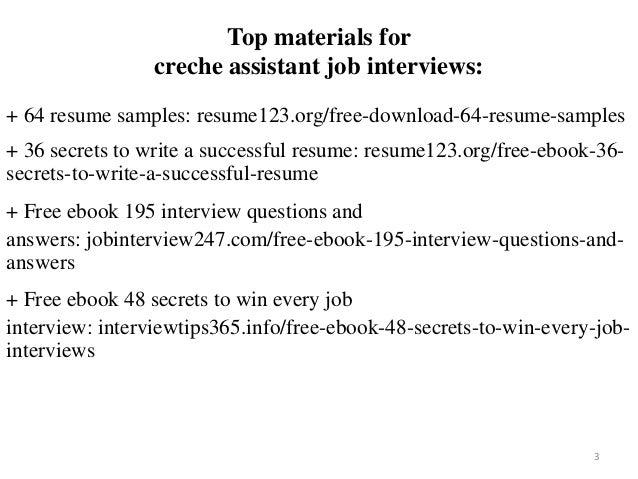 Creche Assistant Resume Sample Pdf Ebook Free Download