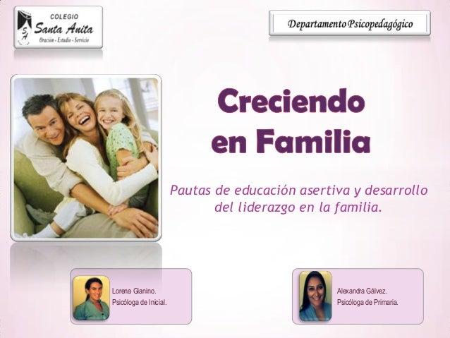 Lorena Gianino. Psicóloga de Inicial. Pautas de educación asertiva y desarrollo del liderazgo en la familia. Alexandra Gál...