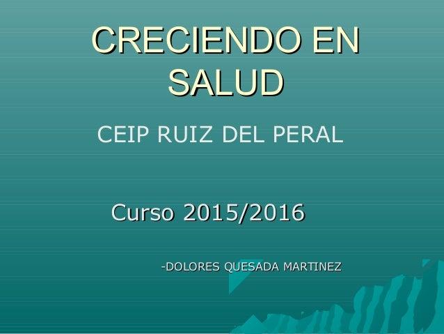 Curso 2015/2016Curso 2015/2016 -DOLORES QUESADA MARTINEZ-DOLORES QUESADA MARTINEZ CRECIENDO ENCRECIENDO EN SALUDSALUD CEIP...