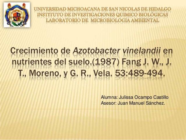 Crecimiento de Azotobacter vinelandii en nutrientes del suelo.(1987) Fang J. W., J. T., Moreno, y G. R., Vela. 53:489-494....