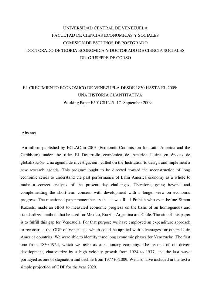 UNIVERSIDAD CENTRAL DE VENEZUELA                 FACULTAD DE CIENCIAS ECONOMICAS Y SOCIALES                        COMISIO...
