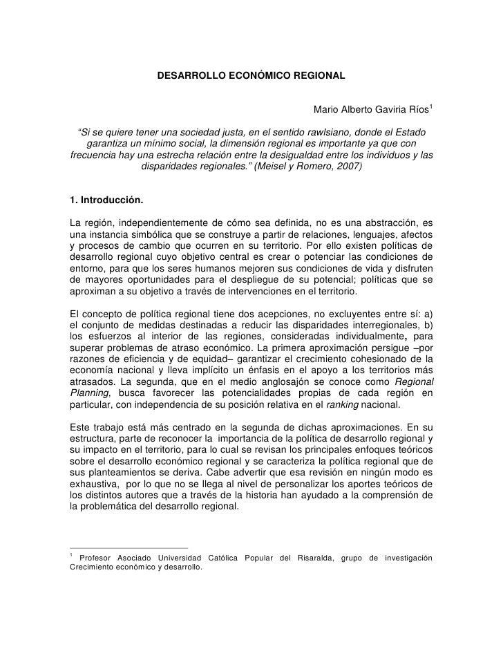 """DESARROLLO ECONÓMICO REGIONAL                                                            Mario Alberto Gaviria Ríos1    """"S..."""