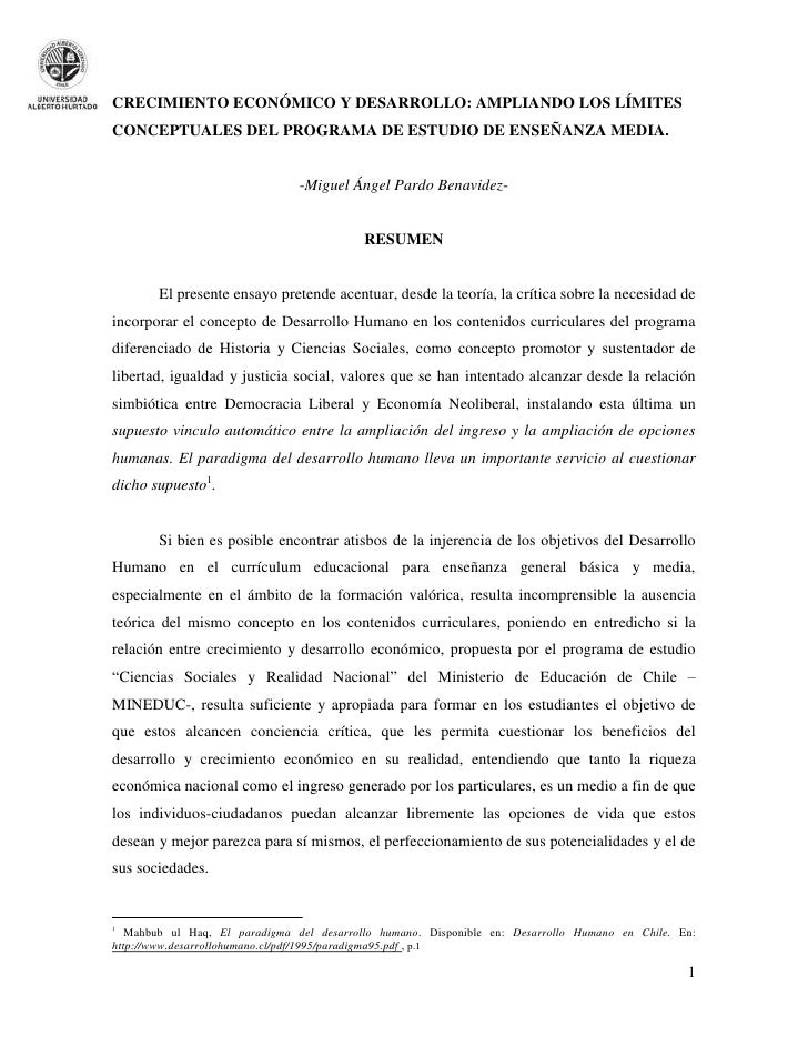 CRECIMIENTO ECONÓMICO Y DESARROLLO: AMPLIANDO LOS LÍMITESCONCEPTUALES DEL PROGRAMA DE ESTUDIO DE ENSEÑANZA MEDIA.         ...