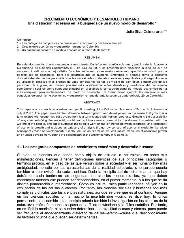 CRECIMIENTO ECONÓMICO Y DESARROLLO HUMANO: Una distinción necesaria en la búsqueda de un nuevo modo de desarrollo * Julio ...