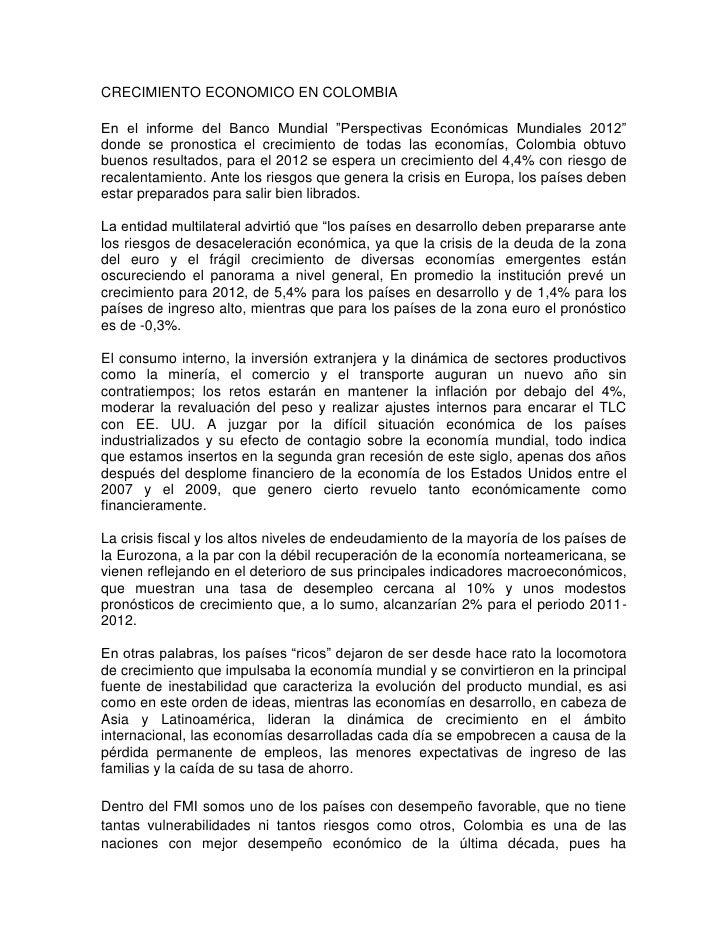 """CRECIMIENTO ECONOMICO EN COLOMBIAEn el informe del Banco Mundial """"Perspectivas Económicas Mundiales 2012""""donde se pronosti..."""