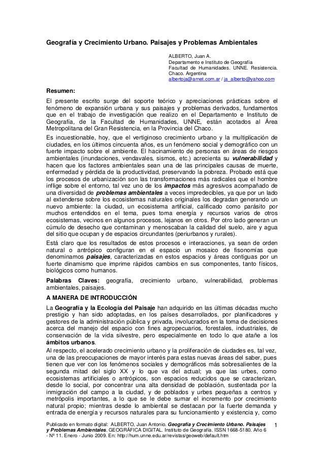 Geografía y Crecimiento Urbano. Paisajes y Problemas Ambientales                                                   ALBERTO...